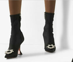 Amina Muaddi Begum Leather Boots Size 40 .5 Current Season Sold Out