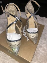 Christian Louboutin Dentelle Jacquard Strass Twistissima 85 Pumps 37 Nude Silver