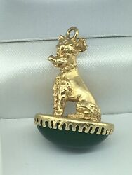 Vintage Ca. 1960and039s 14k Yellow Gold Giant Schnauzer Pendant W/ Green Stone