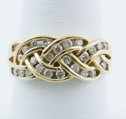 Wr17 A19 14 Kt Yellow Approx 1/2 Ct Diamond Woven Bandsize 7.5