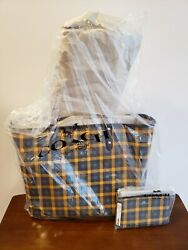 Nwt Coach Reversible City Tote Gingham Print F76631 W/matching Wristlet F77890