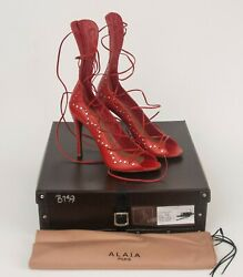 Alaia Red Strappy Studded Leather Peep Toe Lace Up Sandals Heels Shoes New 39.5
