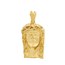 0.80 Ct Round Cut Simulated 14k Yellow Gold Over Silver Mens Jesus Head Pendant