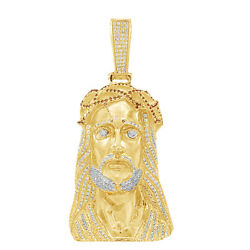 11.50 Ct Round Cut VVS1 14K YellowGold Over Mens Red Diamond Jesus Head Pendant