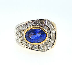 Vintage 1960s Signed Graff Natural Sapphire and Diamond Dress Ring in 18K Gold