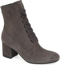 Nib Paul Green Tracy Lace-up/zip Iron Grey Suede Ankle Bootie Heel Us 9.5/uk 7