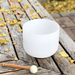 Cvnc 8 Crystal Singing Bowl 8 Inch B Note Frosted Crown Chakra Quartz + Mallet