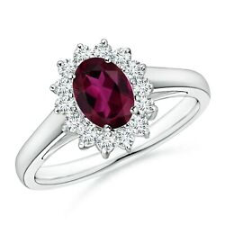Princess Diana Inspired Rhodolite Ring With Diamond Halo In Gold/platinum