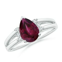 1.58ctw Pear Rhodolite Ring With Triple Diamond Accents In 14k Gold/platinum