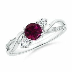 0.8ctw Rhodolite And Diamond Twisted Vine Ring In 14k Gold Size 3-13