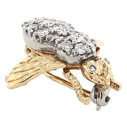 Brooch 14k Yellow Gold Bee Pin With 1.5ct Diamonds - Estate Jewelry