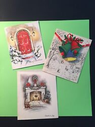 3 Vintage Holiday Christmas Greeting Cards Hearth Town Bells Porch Glitter