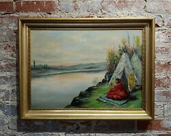 C. Faunce - Native American Smoking His Pipe By A Lake -oil Painting - C.1910s