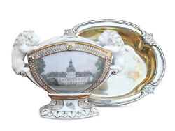 King Frederick Viii And Queen Louise Estate Tulip Vase And Royal Silver Dish Danish