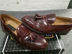 Mens Stacy Adam's Alberto Cognac Loafer Size 9.5 Snake 23059 03 In Box Read
