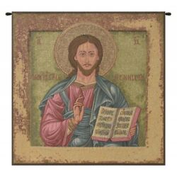 Christ Pantocrator Icon Antique-style Italian Woven Tapestry Wall Hanging