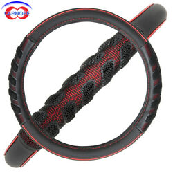Car Steering Wheel Cover 15 38mm Pu Leather Tpe Massage Odorless Black And Red