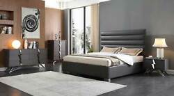 Contemporary Design Gray Finish 4 piece Bedroom Set w King Faux Leather Bed WA6