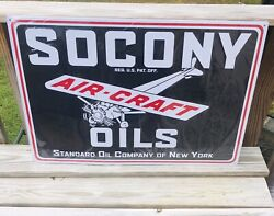 """Socony Standard Oil Man Cave Garage Aircraft Oil Metal Sign 30""""x20"""" Embossed"""