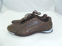 PUMA USED WOMEN 7.5EU 38 BROWNBLUE LEATHER EMBROIDERED SNEAKERS FLORALPAISLEY