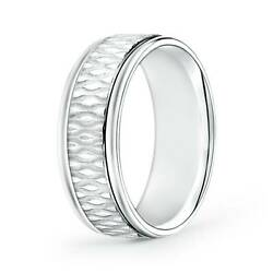 7mm Bubbled Center Comfort Fit Wedding Band In 14k Gold/platinum Size 4-14