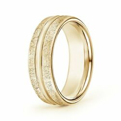 Swirl Finish Center Grooved Comfort Fit Wedding Band In 14k Gold/platinum