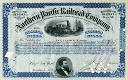 Northern Pacific Railroad Company Signed By Jay Cooke And C.d. Barney