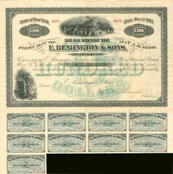 E. Remington And Sons Company 100 Bond Signed By Eliphalet Remington Iii