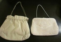 VINTAGE EVENING BAGS BEADED JAPAN FAUX LEATHER $16.00