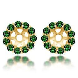 0.96 Ct Round Cut Emerald Earring Jackets For Stud 14k Yellow Gold