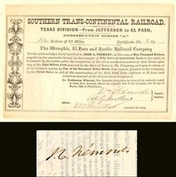 Southern Trans-continental Railroad Signed By John C. Fremont