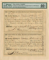 Camden And Amboy Rail Road And Transportation Company Signed By E.a. Stevens