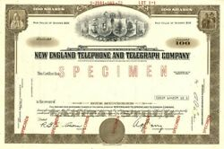 New England Telephone And Telegraph Company - Specimen Stock Certificate