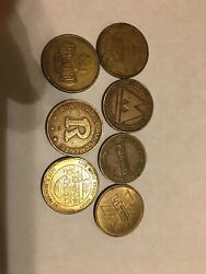 7 Game Coin Tokens Namco Haunted Trails Ryan 49th Street Laser X Back Room+