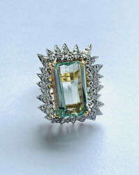Ice Queen Style Vintage Aquamarine And Diamond Cocktail Ring Valuation 13490