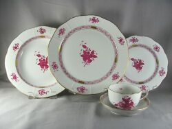 Herend Chinese Bouquet Raspberry Dinnerware Set 20pc Svc For 4 Apponyi