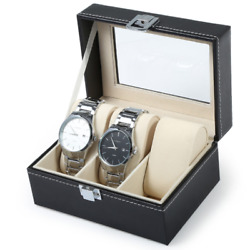 30x Pu Leather Watches Display Travel Case Wrist Portable Mens Watch 3 Grids Box