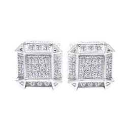 14k White Gold Over Sterling Silver Simulated Round Cut Stud Men's Earrings