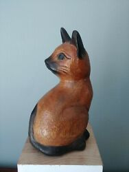 Carved Wood Cat Sitting Cat Siamese Cat 6 1 4quot; Tall Green Eyes