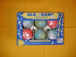 SHINY-BRITE GLO in the DARK 6 ORNAMENTS  original box stencil vintage RARE glow