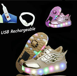 Kids Wheel Shoes Girls Boys led Light up Roller Skate Sneaker Shoes USB recharge