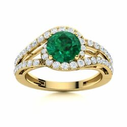 1.30 Carat Natural Certified Aaa Emerald And Si Diamond Ring In 14k Yellow Gold