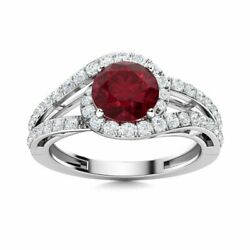 1.46 Carat Natural Certified Aaa Ruby And Si Diamond Ring Solid 14k White Gold