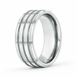 7mm Multi Grooved Menand039s Comfort Fit Wedding Band In 14k Gold/platinum Size 4-14