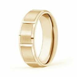 6mm Satin Finish Grooved Comfort Fit Wedding Band In 14k Gold/platinum Size 4-14
