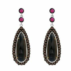 24.60 Ct Ruby, Slice Sapphire And Diamond 18k Gold And Sterling Drop Earrings
