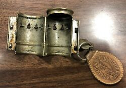 Vintage 1950and039s White Horse Scotch Whiskey Metal Bottle Lock With Key Liquor