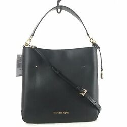 MICHAEL KORS HAYES Large Bucket Leather Shoulder Bag Black $182.25