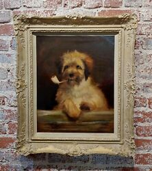 Portrait of a Dog Smoking a Pipe-Beautiful 19th century English School