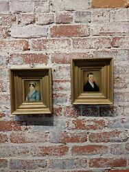 Portraits Of Husband And Wife -18th Century English School-oil Painting -a Pair